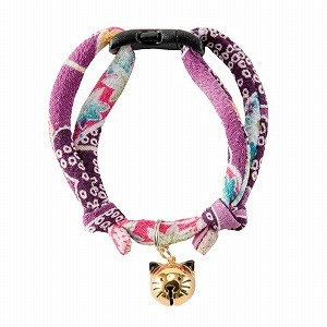 Chirimen Fireworks Cat Collar <br>(Purple)