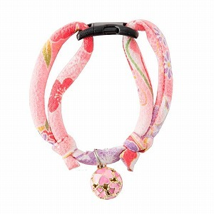 Chirimen Cat Collar with Clover Bell <br>(Pastel Pink)