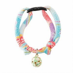 Chirimen Cat Collar with Clover Bell <br>(Baby Blue)