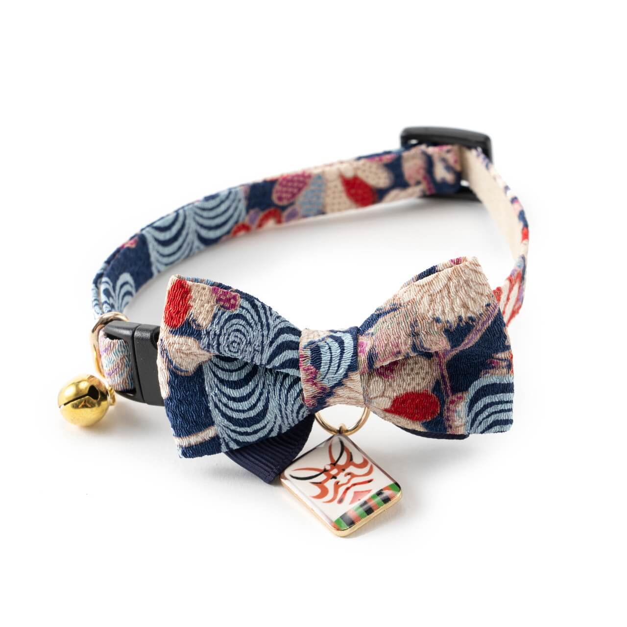 Kabuki Charm Bow Tie Cat Collar <br>(Navy)