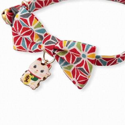 Lucky Cat Charm Bow Tie Cat Collar (Red)