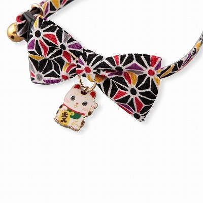 Lucky Cat Charm Bow Tie Cat Collar (Black)